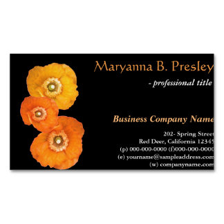 Pretty yellow poppy flowers black business cards. business card magnet