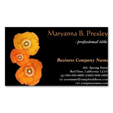 Professional Business Pretty yellow poppy flowers black business cards. business card magnet