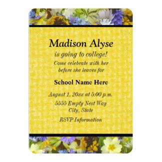 """Pretty Yellow Purple Floral""""Off To College"""" Invite"""