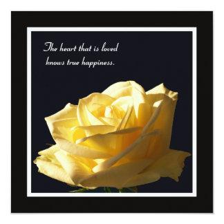 Pretty Yellow Rose Vow Renewal 5.25x5.25 Square Paper Invitation Card