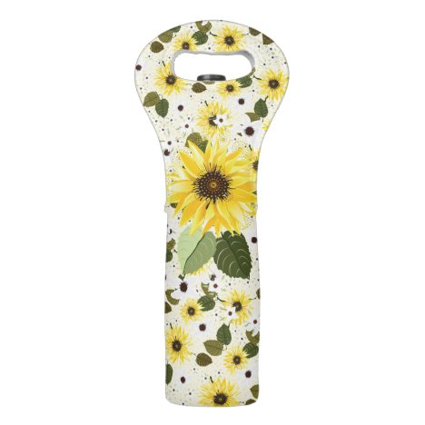 Pretty Yellow Sunflower Garden Floral Wine Bag