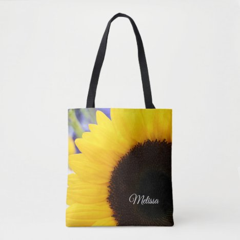 Pretty Yellow Sunflower Personalized Tote Bag