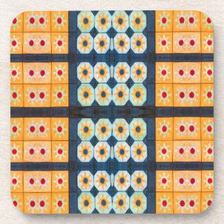 pretty yellow tile pattern coaster