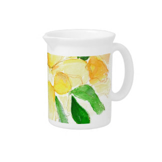 Pretty Yellow Watercolor Dreaming Spires Roses Beverage Pitcher