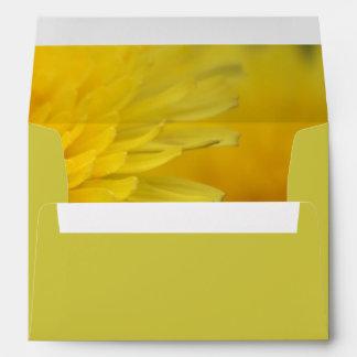 Pretty yellow wild flower dandelion wedding envelope
