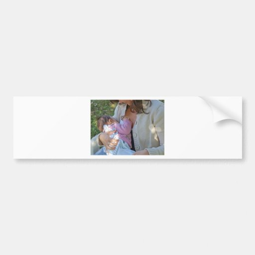 Pretty young brunette mum breastfeeding her baby bumper stickers