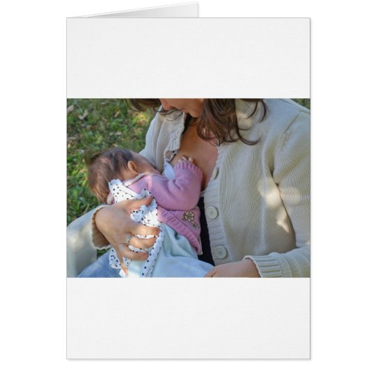 Pretty young brunette mum breastfeeding her baby card