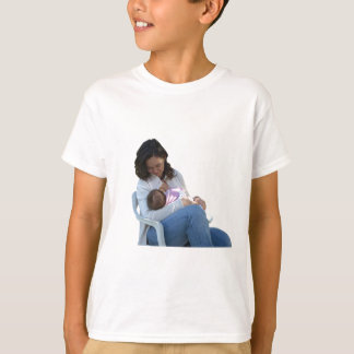 Pretty young brunette mum breastfeeding her baby T-Shirt