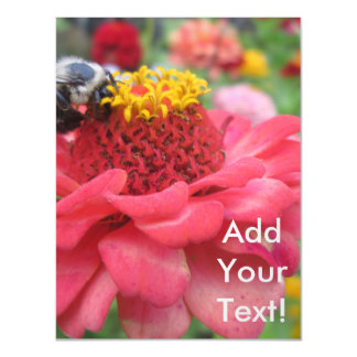 Pretty Zinnia with Bee Magnetic Card