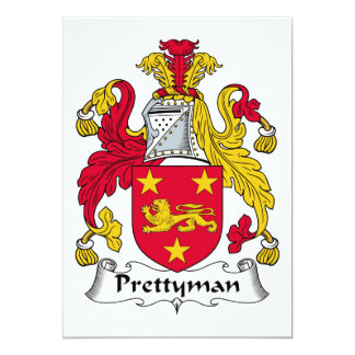 """Prettyman Family Crest 5"""" X 7"""" Invitation Card"""