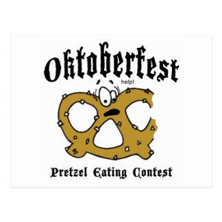 Pretzel Eating Contest Oktoberfest Gift Postcard