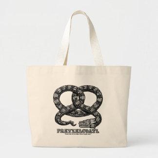 Pretzelcoatl -b/w large tote bag