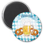 Pretzeles y cerveza de Oktoberfest Imán Redondo 5 Cm