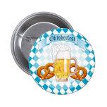 Pretzeles y cerveza de Oktoberfest Pin Redondo 5 Cm