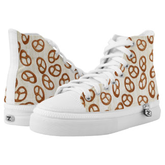 Pretzels Snack seamless pattern + your background High-Top Sneakers