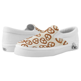 Pretzels Snack seamless pattern + your background Slip-On Sneakers