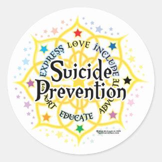 Prevención Lotus del suicidio Etiquetas Redondas