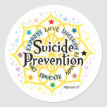 Prevención Lotus del suicidio Pegatina Redonda