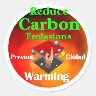 Prevenga el calentamiento del planeta pegatina redonda
