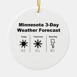 Previsión metereológica de Minnesota Adorno Navideño Redondo De Cerámica