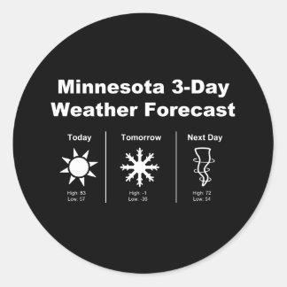 Previsión metereológica de Minnesota Pegatina Redonda