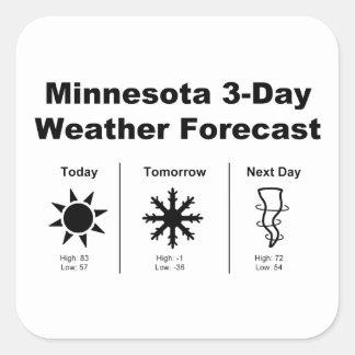 Previsión metereológica de Minnesota Pegatina Cuadrada