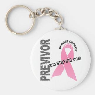 Previvor 1 Breast Cancer Basic Round Button Keychain