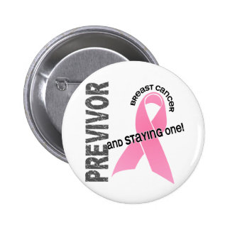 Previvor 1 cáncer de pecho pin redondo de 2 pulgadas