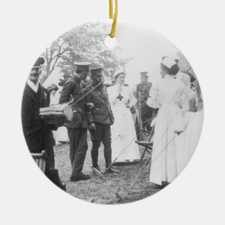 Prewar Field Days British Military Nurses Double-Sided Ceramic Round Christmas Ornament