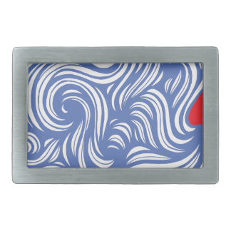 Prey Abstract Expression Red Blue Rectangular Belt Buckles