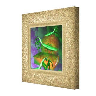 Preying Mantis Plaster stone illusion wrapped Canvas Print