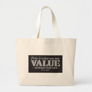 Price is what you page - white on black large tote bag
