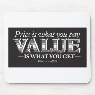 Price is what you page - white on black mouse pad