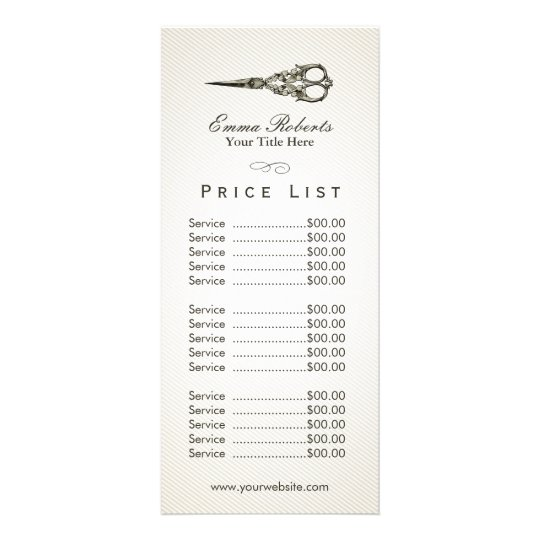 Wonderful Price List | Antique Scissor Vintage Hair Salon Rack Card