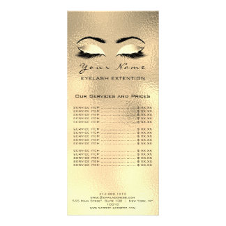 Price List Lashes Extension Makeup Artist Browns Rack Card