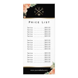 Price List Makeup Artist Hair Stylist Fl Rack Card