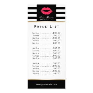 Price List | Makeup Artist Red Lips Modern Stripes Rack Card