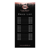 Price List | Makeup Artist Rose Gold Glitter Lips Rack Card