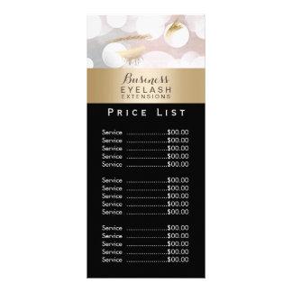 Price List | Modern Silver Gold Eyelash Extensions Rack Card