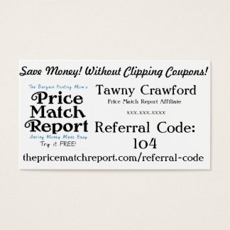 Price Match Report Affiliate Cards - Referral Code