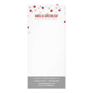 PRICE SERVICES LIST confetti spot pattern red gold Rack Card