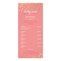 PRICE SERVICES LIST gold confetti pattern coral Rack Card