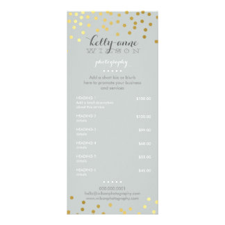 PRICE SERVICES LIST gold confetti pattern gray Rack Card