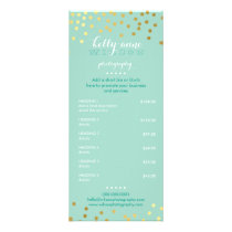 PRICE SERVICES LIST gold confetti pattern mint Rack Card