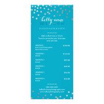 PRICE SERVICES LIST silver confetti pattern aqua Rack Card
