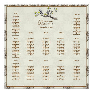 Price Starts at $12.80 Ivory Vintage Birds Yellow Poster
