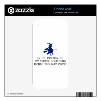 Pricking Of My Thumb Halloween Design iPhone 4S Decals