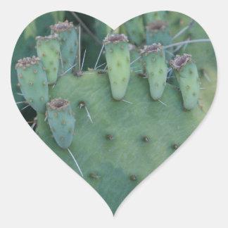 Prickley Pear Cactus Heart Sticker