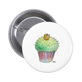 Prickly Blooming Cactus Cupcake Button