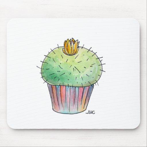 Prickly Blooming Cactus Cupcake Mouse Pad